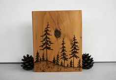 Pine Trees Art Block Woodburning by TwigsandBlossoms on Etsy