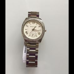 NWT MK Bryan Silver Glitz sq. face dial MK6133 Beautiful unique Michael Kors new in box with tag $275 Michael Kors Accessories Watches