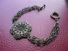 Antique Brass Flower Bracelet w/ Toggle Clasp - $15