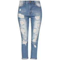 Distressed Boyfriend Jeans Something Borrowed ❤ liked on Polyvore featuring jeans, torn jeans, distressing jeans, destroyed jeans, blue jeans and distressed jeans