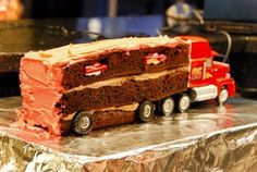 Mack the Truck Cake, complete with McQueen inside!