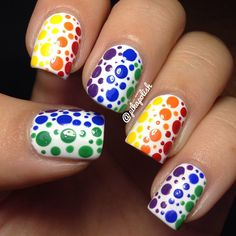 Instagram photo by pikapolish  #nail #nails #nailart <3<3<3A SPLATTERING OF COLOURFUL SPOTS - A FAB LOOK & DONE WELL<3<3<3 @