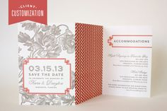 Client Customization – New Letterpress Palette for Marinwood Trifold Save the Date