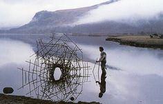 by Andy Goldsworthy. Knotweed Stalks. Derwent water, Cumbria. March 8, 1988.