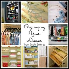 Organizing table linens—great creative ideas to use the space you have for organizing kitchen and dining room linens. #organization #tablelinen