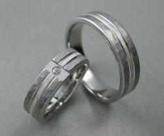 titanium diamond wedding ring set