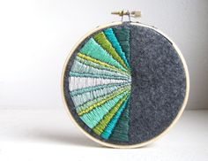 Monochromatic Greens and Gray  Hand Embroidery Wall by aboutSHE,