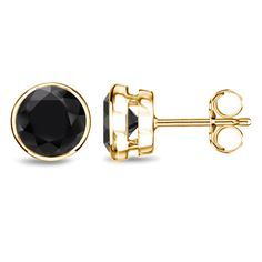 Add simple elegance to any outfit with these striking black diamond studs in choice of 1 2 3 or 4 carat total diamond weight. Theses earings showcase dazzling white gold metalwork with push-back clasps. Black Diamond Studs, Black Diamond Earrings, Diamond Earing, Gold Earrings, Yellow Earrings, Black Diamonds, Earring Box, Clean Gold Jewelry, Thing 1