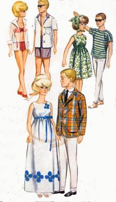 Vintage 60s Butterick 3316 Barbie, Ken, Midge and More 11.5 Doll Sewing Pattern Swimsuit,Evening Gown