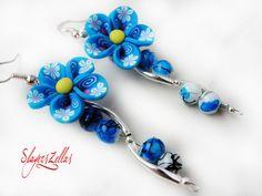 Very flowerly earrings - version blue by Benia1991 on DeviantArt