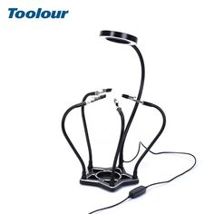 Toolour Five-star Aluminum Alloy Base Soldering Stand 42 SMD LED Lights Magnifier Third Helping Hand Soldering Holder Tool. Welding Equipment, Spring Steel, Helping Hands, Five Star, Magnifying Glass, Soldering, Aluminium Alloy, Lamp Light, Third