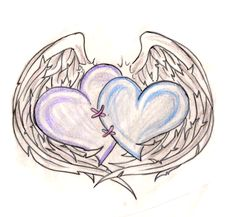 Hearts Stitched Together with Angel Wings Tattoo 3 by ~Metacharis on deviantART