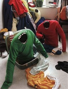 Sweater monsters! Wow! Creepy. would be sweet in the laundry room haha