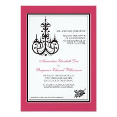 Classy Fuschia Chandelier 5x7 Wedding Invitation