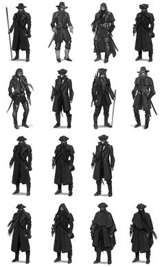View an image titled 'Corvo Ideation Art' in our Dishonored art gallery featuring official character designs, concept art, and promo pictures. Character Outfits, Character Art, Game Character Design, Mode Steampunk, Character Design References, Character Design Inspiration, Fantasy Characters, Dungeons And Dragons, Costume Design