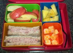 Tuna on Sara Lee whole wheat bread, Colby-Jack cheese cubes, Fresh pineapple, Pink Lady apple
