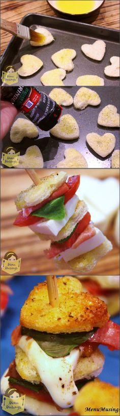 Mozzarella Caprese Skewers - These awesome little appetizer skewers are about two perfect bites each - crunchy toasted bread, fresh basil, melted mozzarella, juicy tomatoes, and a bit of Italian prosciutto. Seriously... all you need is a nice glass of wine and you are SET! Step-by-step photos.