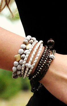 White Leather Sterling Wrap Bracelet / Bohemian