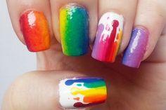 13 Colorful and Creative Rainbow Nail Designs - http://slodive.com/nails-2/13-colorful-and-creative-rainbow-nail-designs/