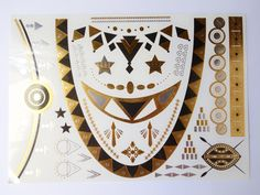 Metallic Tattoo, Gold Tattoo, Temporary Body Art - Tribal#1 over 30 dollars free shipping by wowlalalaa on Etsy