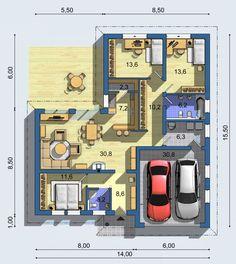 Projekt - Bungalov 1088 Building Design, Building A House, Plan Ville, Planer, Home Goods, House Plans, Projects To Try, Floor Plans, Construction