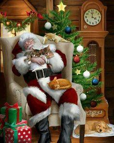 """""""Santa Cat Nap"""" by Thomas Wood Christmas Scenes, Christmas Animals, Vintage Christmas Cards, Santa Christmas, Christmas Pictures, Winter Christmas, Xmas, Father Christmas, Christmas Sketch"""