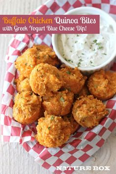 GENIUS! Buffalo Chicken Quinoa Bites with Blue Cheese Ranch Dipping Sauce - perfect summer party food!