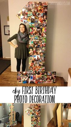 DIY creative photo collage for birthday party How to make a cheap first birthday party decoration from cardboard & photo prints! Easy, fast, and cheap – this first birthday photo display idea is also creative! Boys First Birthday Party Ideas, 1st Birthday Party Decorations, Baby Boy First Birthday, 1st Birthday Photos, Birthday Diy, Boy Birthday Parties, First Birthday Crafts, 1st Birthday Activities