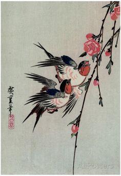 Utagawa Hiroshige Gekka Momo ni Tsubakura Moon Swallows and Peach Blossoms Art Print Poster Affiche sur AllPosters.fr