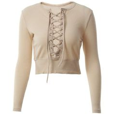 Lace-up Long Sleeves Crop Top ($12) ❤ liked on Polyvore featuring tops, t-shirts, longsleeve t shirts, long sleeve t shirts, crop tops, crop t shirt and khaki crop top