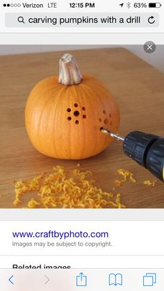 Carving pumpkins with a drill!