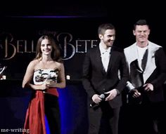 Emma Watson and Dan Stevens attended the Paris Premiere of Beauty and the Beast on february 19th gif