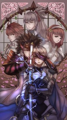 Fire Emblem Fates- Ryoma and the MC, Hinoka, Takumi, and Sakura in the background