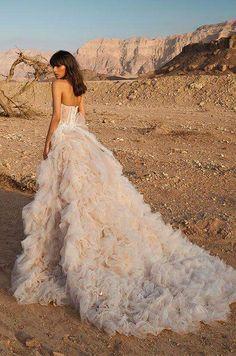 Modish blush wedding dress