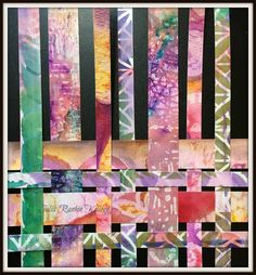 Mixed Media paper weaving by Julia Kellogg using products from Ken Oliver and stencils from StencilGirl.