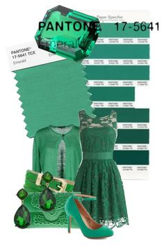 """""""2013 color of the year: Emerald Green"""" by ouro-asunder ❤ liked on Polyvore featuring Pantone, Scaglione, McQ by Alexander McQueen, BB Dakota, MeDusa, Blu Bijoux, Color, emeraldgreen and pantone"""