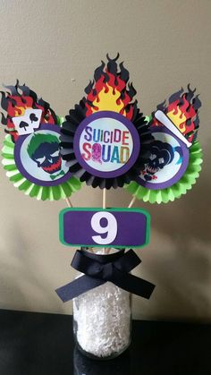 Check out this item in my Etsy shop https://www.etsy.com/listing/506385403/suicide-squad-centerpiece-suicide-squad