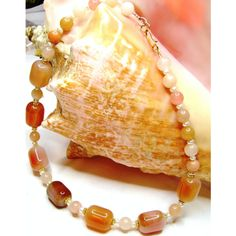 25% OFF SALE Boho Orange Carnelian Necklace, Multi Gemstone,... ($43) ❤ liked on Polyvore featuring jewelry, necklaces, jade necklace, pearl jewelry, white pearl necklace, boho jewellery and gold filled necklace