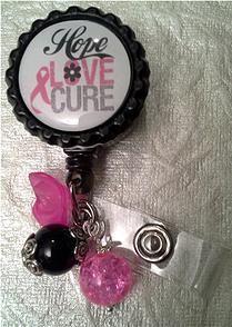 Hope Love Cure Embellished Badge Reel