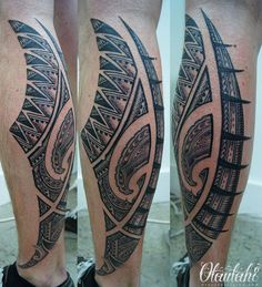 sa moko blend calf piece samoan south pacific maori kirituhi blend tatau from Brad Cone at Otautahi Tattoo