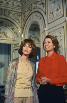 """graceandfamily:  Photo from """"Once Upon a Time… Is Now the Story of Princess Grace"""" showing actress and host Lee Grant with Princess Grace in a documentary made about Grace's life by NBC in 1977.  The pair are shown in the Mirror Gallery of the Prince's Palace in Monaco."""