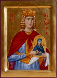 Holy Empress Theodora was the wife of the Byzantine emperor Theophilus the… Religious Paintings, Byzantine Icons, Religious Images, Orthodox Icons, More Icon, Emperor, Ikon, Saints, Style Icons