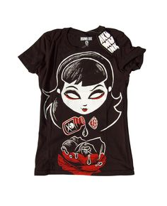 Akumu Ink Deadly Rose tshirt. Girl pouring poison onto a rose.