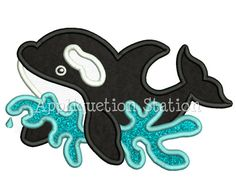 Cute Killer Whale Orca Applique Machine Embroidery Design sea creature nautical ocean fish dolphin summer INSTANT DOWNLOAD
