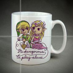 Coffee Mugs-Coffee Cups-Zelda Game Valentine-Funny by MugsleyShot $20.58