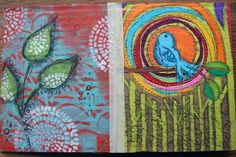 Stenciled Cardboard Art Journal Pgs made by- Gwen Lafleur using my Seeds stencil from StencilGirl
