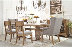 Ollesburg dining room extension base and top, upholstered side chairs, upholstered arm chairs, upholstered bench, and server Dining Room Server, Dining, Dining Room Chairs, Dining Table, Table And Chairs, Dining Room Bench, Dining Chair Set, Wooden Dining Tables, Dining Chairs