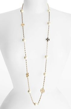 Tory Burch 'Evie' Extra Long Station Necklace available at #Nordstrom - Ivory Gold