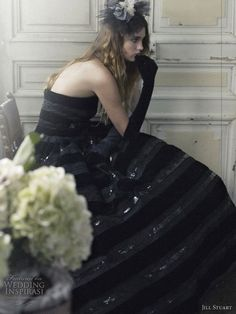 Gothic romantic, a dark colored wedding drean - Black color wedding dress and black elbow length gloves, hair accessories