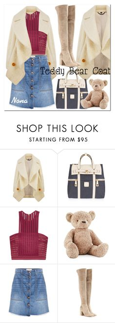 """""""Snuggle Up: Teddy Bear Coat"""" by delunaray ❤ liked on Polyvore featuring Burberry, Henri Bendel, self-portrait, Jellycat, Current/Elliott, Gianvito Rossi and teddybearcoats"""